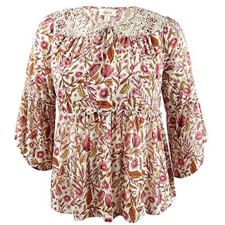 Style & Co Women's Printed Bell-Sleeve Peasant Top