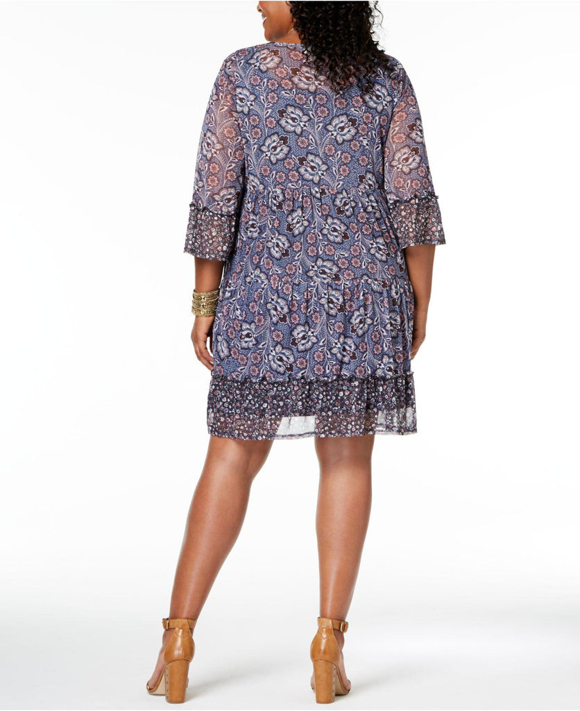 Style & Co Women's Plus Printed Lantern Dress