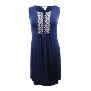 Style & Co Women's Plus Size Embroidered Sleeveless Swing Dress