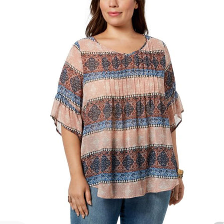 Style & Co. Crepe Sheer Pullover Top