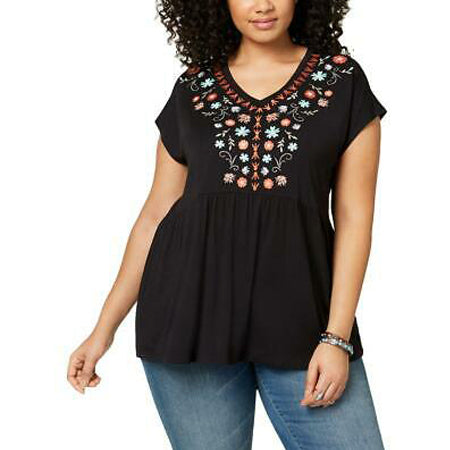Style & Co. Women's Plus Size Embroidered Tunic Top