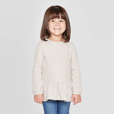 Cat & Jack Toddler Girls' Cozy Waffle Knit Henley T-Shirt