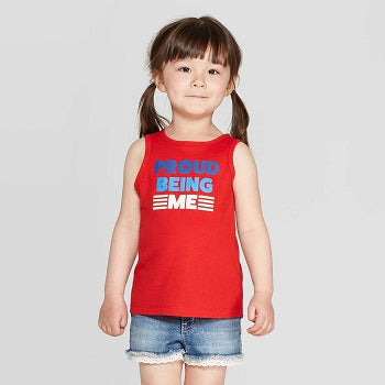 Cat & Jack Girls' 'Proud Being Me' Graphic Tank Top