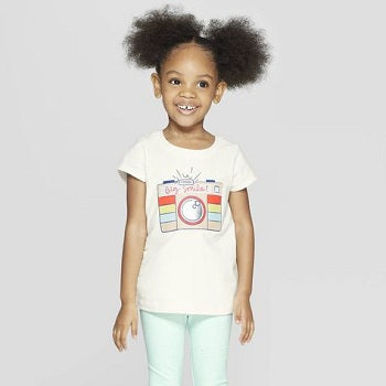 Cat & Jack Toddler Girls' Short Sleeve 'Big Smile' Graphic T-Shirt