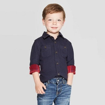 Cat & Jack Toddler Boys' Novelty Quilted Long Sleeve  Shirt