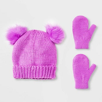 Cat & Jack Toddler Girls' Beanie with Poms & Magic Mittens Set