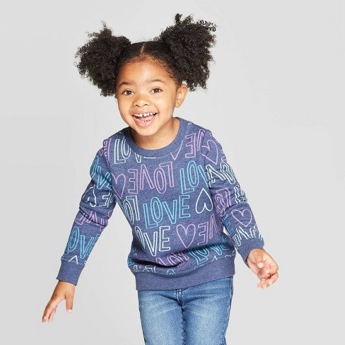 "Cat & Jack Toddler Girls' ""Love"" Crew Fleece Sweatshirt"