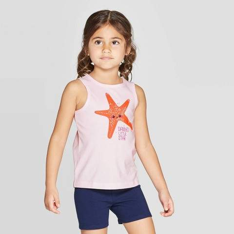 "Cat & Jack Toddler Girls' ""Star"" Graphic Tank Top"