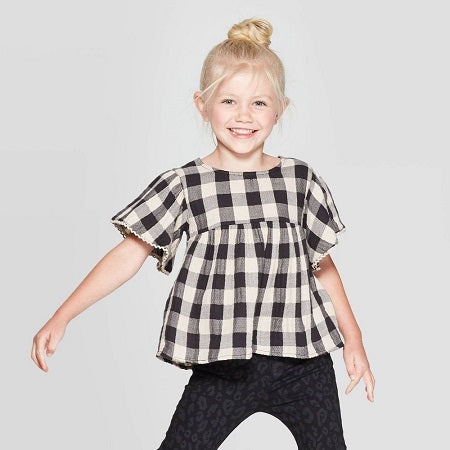 Art class Toddler Girls' Ruffle Sleeve Buffalo Check Blouse