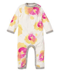 Burt's Bees Baby Girls' Organic Cotton Pansies Ruffle Jumpsuit