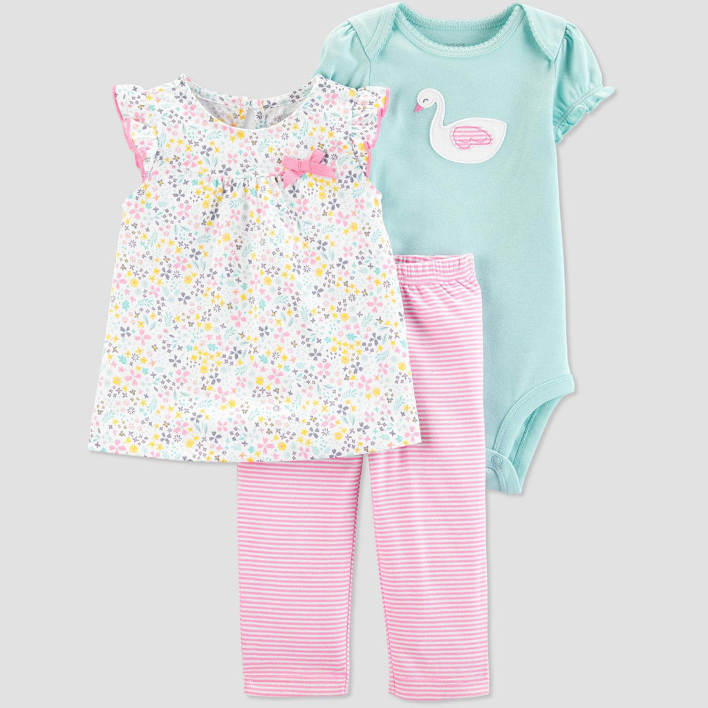 Carter's Baby Girls' 3 Piece Swan Floral Top and Bottom Set