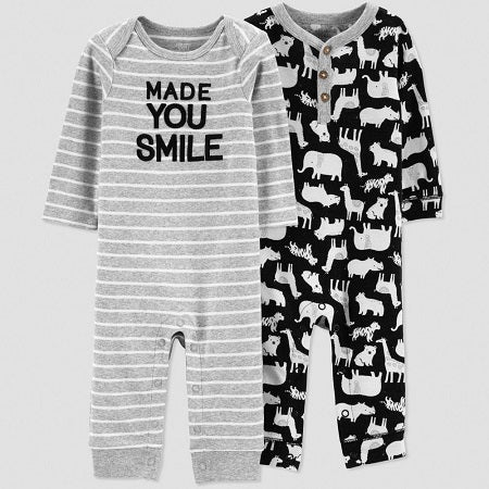 Carter's Baby Boys' 2 pack Animal Long sleeve Jumpsuit