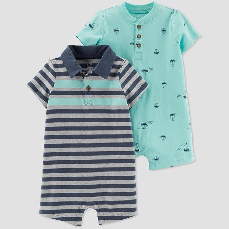 Carter's Baby Boys' 2 pack Striped and Boat Rompers