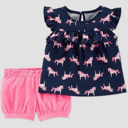 Carter's  Girls' 2 Piece Unicorn Print Top and Bottom Set