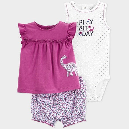 Carter's Baby Girls' 3 piece Dino Embroided Top and Bottom Set