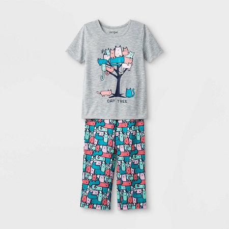 Cat & Jack Toddler Girls Cat Tree Pajama Set