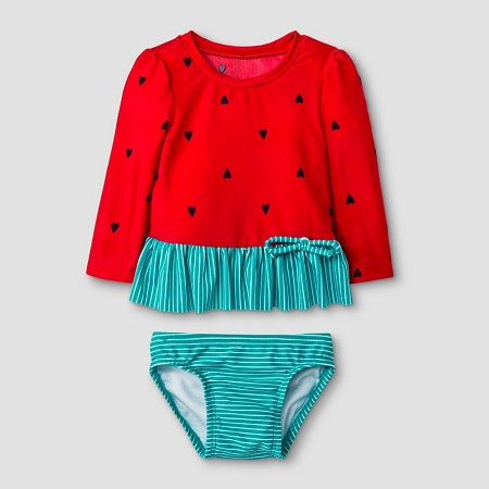 Cat & Jack Baby Girls' Long Sleeve Watermelon Rash Guard Set