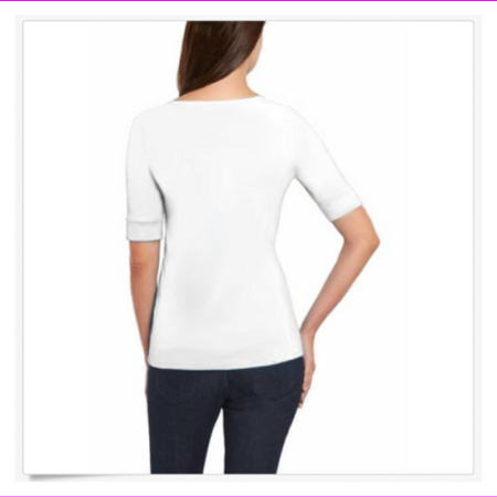 Ellen Tracy Women Soft Elbow Sleeve Top