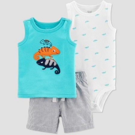 Carter's Baby Boys' 3 pcs Chameleon Embroidered Top and Bottom Set