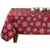 Fabric Tablecloth Snowflake-White/Red