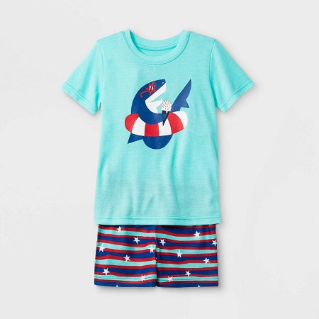 Cat & Jack Baby boy' Shark Print Neon Top and Striped Shorts Pajama Set