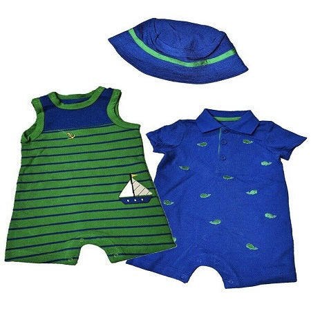 Little Me Boy's 3-piece Romper And Hat Set