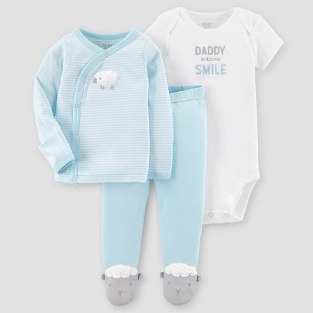 Carter's Baby Boys' 3 piece Side Snap Tee Layette Set