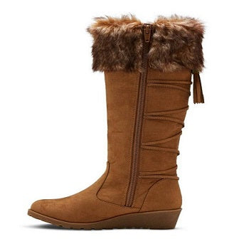 Stevie Girls Winter  Wedge Boots Faux Fur Trim