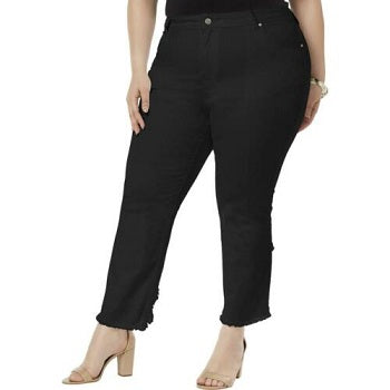 NY Collection Plus Size Frayed Cutout jeans