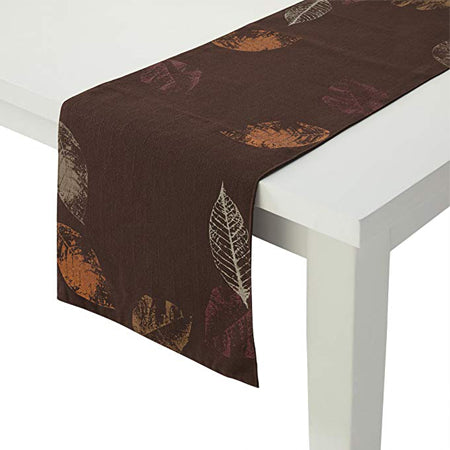 Essential Home Table Runner Impressionistic Metallic Leaves