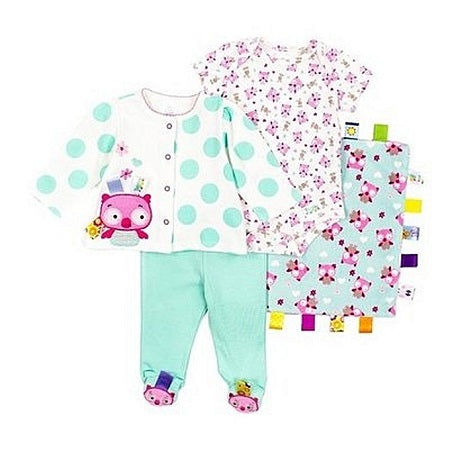Taggies Baby Girl 4pcs Outfit and Blanket Set