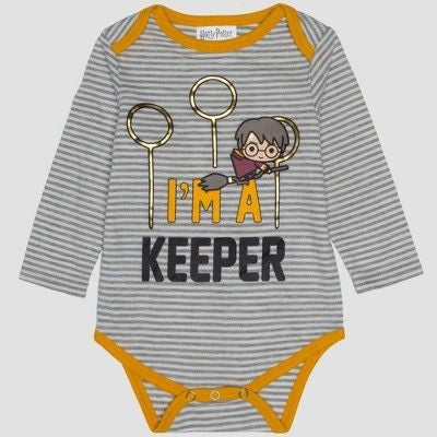 Harry Potter Baby Boys' 3 Pack Long Sleeve Bodysuits