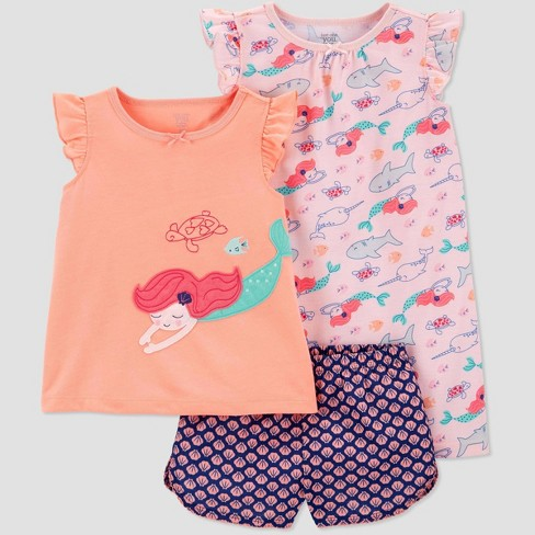 Carter's Toddler Girls' 3 piece Mermaid Poly Pajama Set