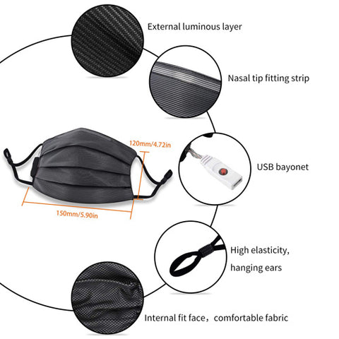 """<span style=""""color: #ff8000;""""><strong>【Humanized Design】</strong></span>This LED flashing mask is super wide and comfortable elastic straps can be adjusted to fit, one size fits all. Festival season is coming! It's an excellent gift for both adults and teens."""