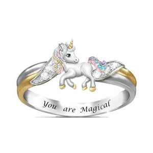 """You Are Magical!"" Unicorn Necklace Ring Earrings"