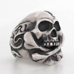 Cross Bone Skull With Heart Ring