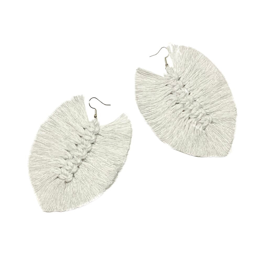 White Macrame Earrings