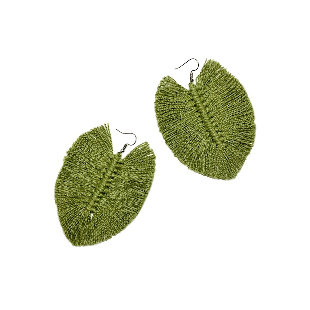 Green Macrame Earrings
