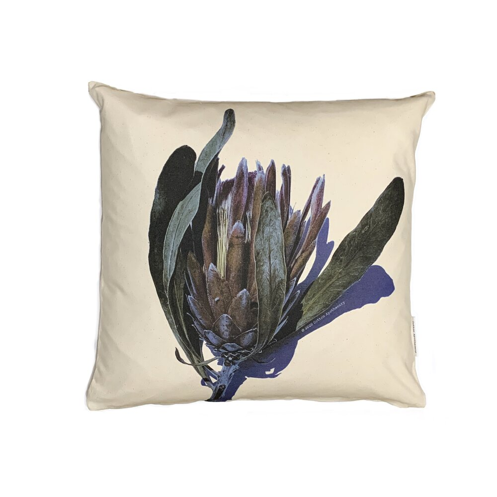 Green Blue Brown Protea - Cushion Cover