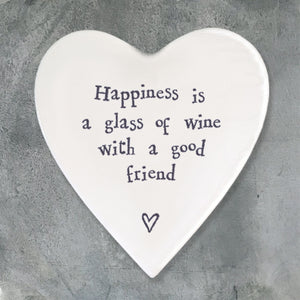 Porcelain Heart Coaster - Happiness is a glass wine
