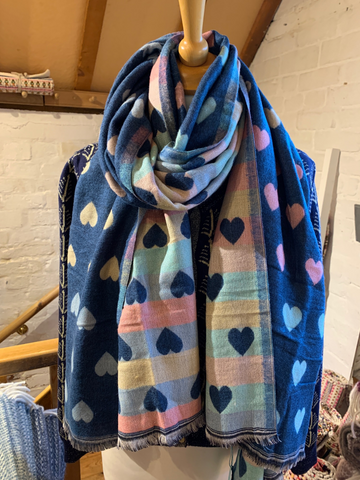 Reversible Heart Scarf in mid Blue