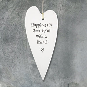 Porcelain Long Hanging Heart - Happiness is time