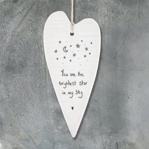 Porcelain Wobbly Long Hanging Heart - Brightest star