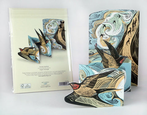 Cornish Swallows Fold-Out Card by Angela Harding