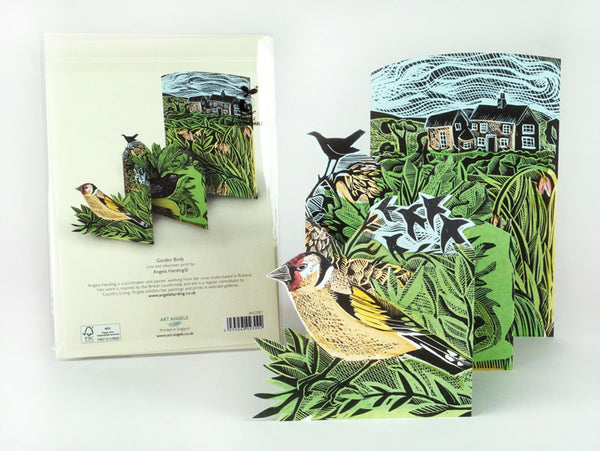 Garden Birds Fold-Out Card by Angela Harding