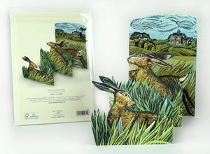 Hares & Open Fields Fold-Out Card by Angela Harding
