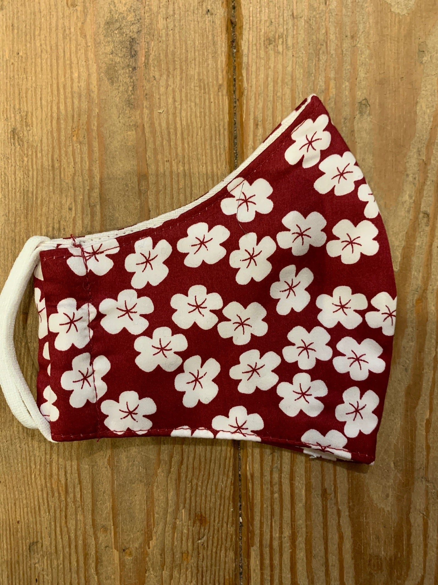 Burgundy with White Flowers Face Covering