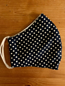 Dark Navy with White Spots Face Covering