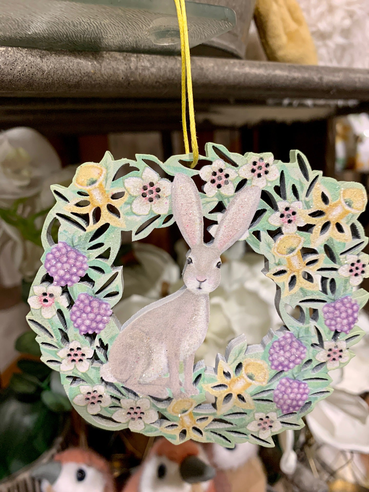 Gisela Graham Easter Hanging Decoration - Hare in a flower Garland