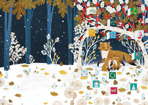 Paw Prints in the Snow Advent Calendar Card